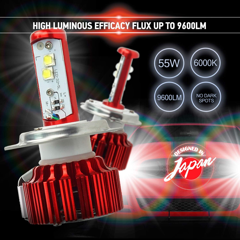6000K Cool White 9007 9007 Double Beam 55W 2-Year Warranty Pair 9,600 lumens Akarui LED Headlight Bulbs Conversion Kit CREE