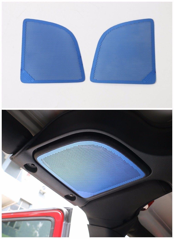 Pulidi Car Roof Speaker Decorative Cover Frame For Jeep Wrangler JK 2015+ Blue 2pcs