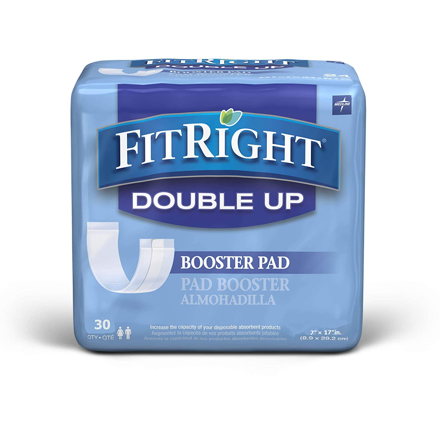 "FitRight Double Up Incontinence Liners, Booster Pads with Adhesive, 7""x17"", 30 per Bag"