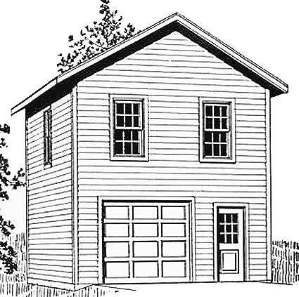 Garage Plans: One Car Two Story Garage - Plan 722-2 ...