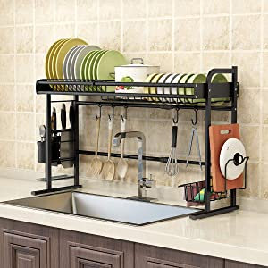 BENOSS Telescopic Dish Drying Rack Over the Sink, Stainless Steel Dish Dryer for Kitchen, Storage Organizer Shelf with Knife Holder, Cutlery Holder and Drainboard, Matte Black (Black 1 Tier)