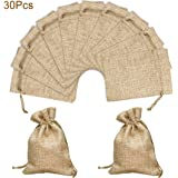 Hapdoo Lot of 50 Burlap Bags with Drawstring Gift Bags Jewelry Pouches Sacks for Wedding Party and DIY Craft, 5 x 3.5 Inches