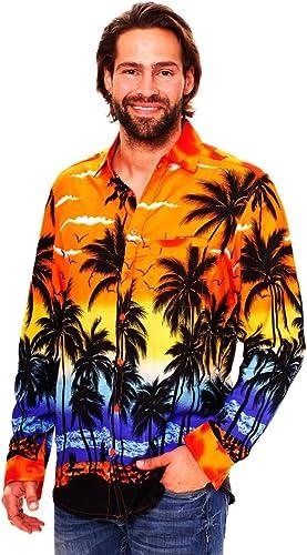 Original King Kameha | Funky Camisa Hawaiana Señores | XS-6XL |Manga Larga Bolsillo Delantero | impresión De Hawaii| Playa