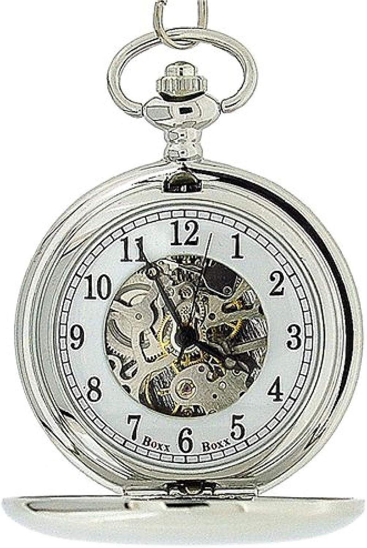Reloj de Bolsillo BOXX Mecánico y en Color Plateado con Cadena de 12: Amazon.es: Relojes