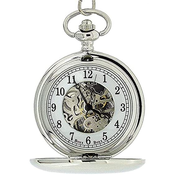 Amazon.com: Boxx Mens Silver Tone Skeleton Mechanical Pocket Watch 12 Chain Boxx244: Watches