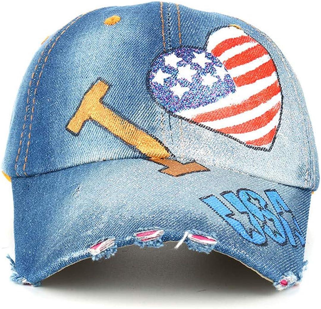 BAIELFES USA Flag Painting Jean Baseball Cap Adjustable Hip Hop Cap Leisure Hat