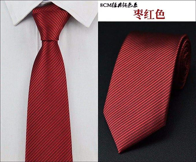 LBBJJ Corbata de Moda clásica 8 cm clásico Color sólido Rayas ...
