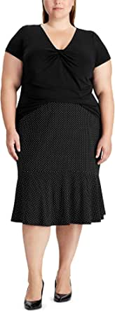 CHAPS Women's Print Mid Length Versatile Stretchy Ruffled Casual Skirt