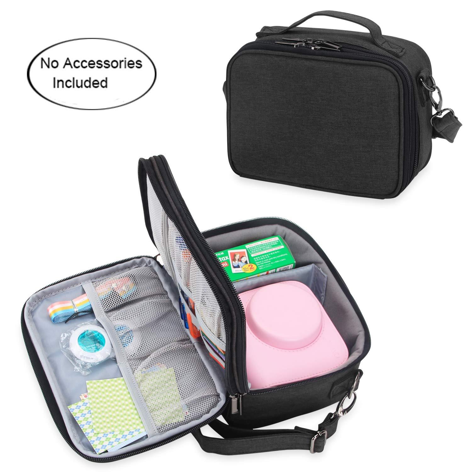 Teamoy Camera Case Compatible with Fujifilm Instax Mini 9, Travel Carrying Storage Bag for Instant Camera and Accessories, Black