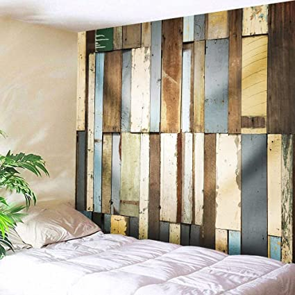 Rustic Old Wood Tapestry Wall Hanging Vintage Retro Wooden Door Background Tapestries Wood Plank Board Pattern Wall Blanket Wall Art Decor For Bedroom