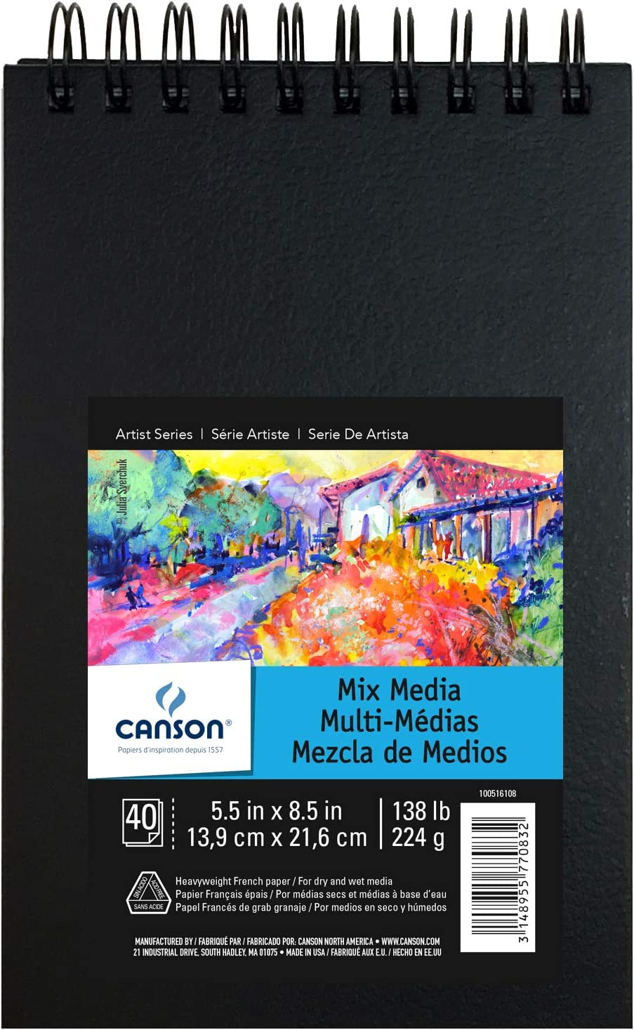 Double Sided Fine and Medium Texture Heavyweight French Paper Side Wire Bound 9 x 12 Inch Canson Mix Media Art Book 138 Pound 40 Sheets