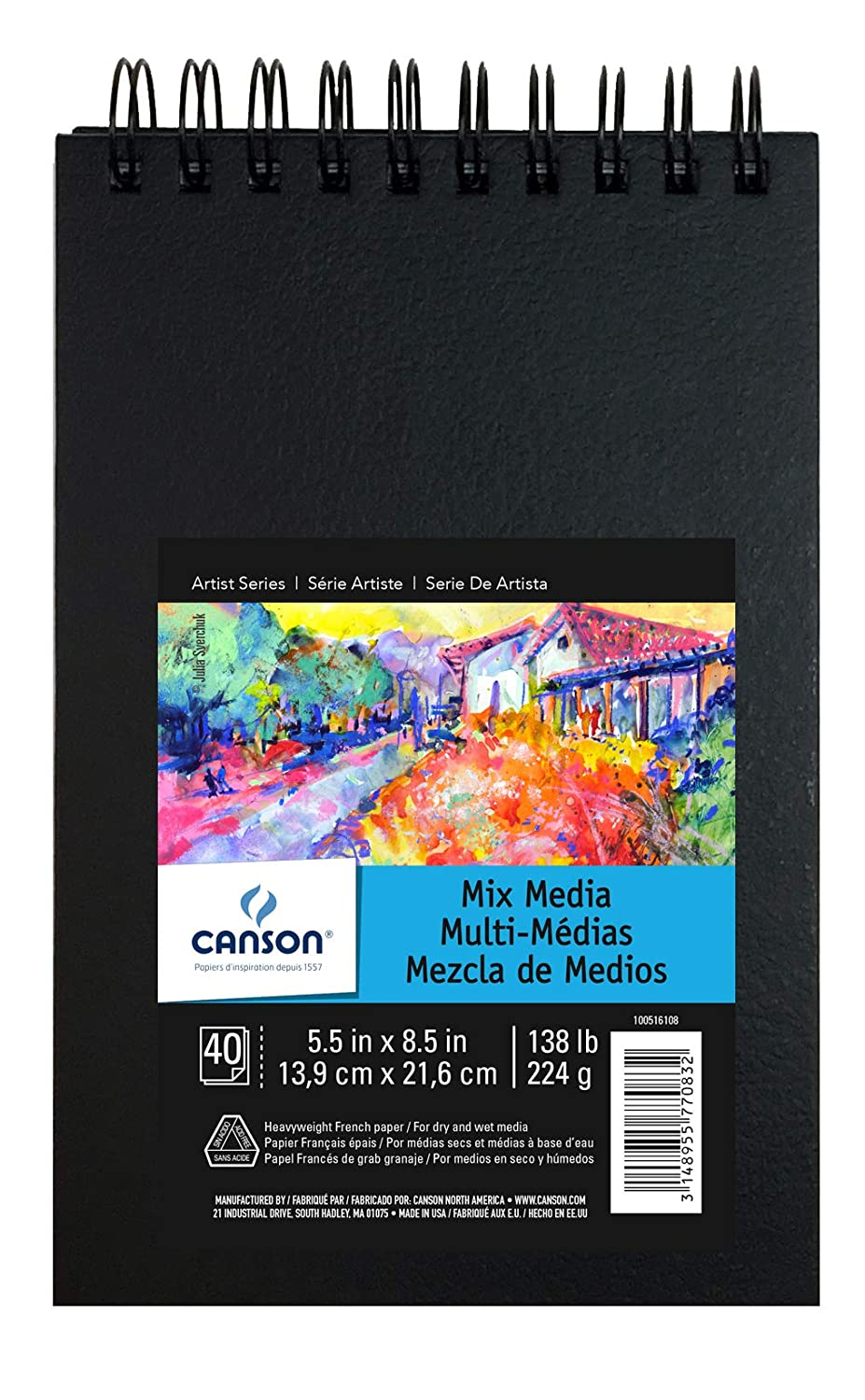 Canson Mix Media Art Book Double Sided Fine and Medium Texture Heavyweight French Paper 40 Sheets 138 Pound Side Wire Bound 7 x 10 Inch
