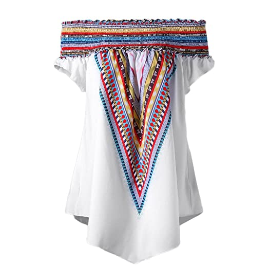 1aee7f4a0e7 Womens Off Shoulder Plus Size Tunic Blouse Tops Colorful Elastic Print Shirt  at Amazon Women s Clothing store