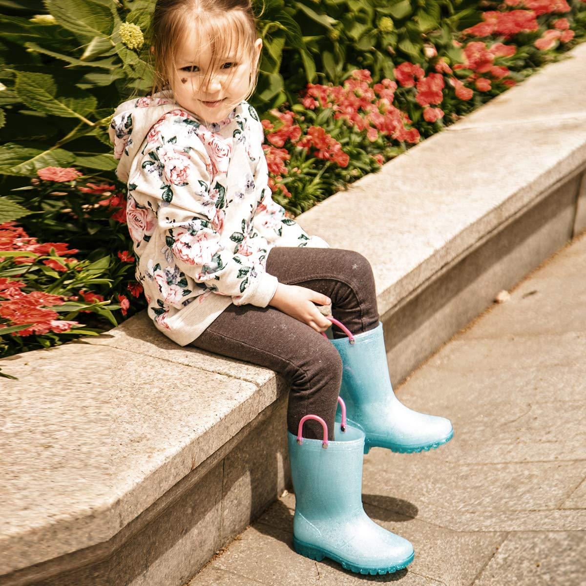 KomForme RPGL054-1M K Light Up Kids Rain Boots Glitter Girl Boots Blue by KomForme (Image #6)