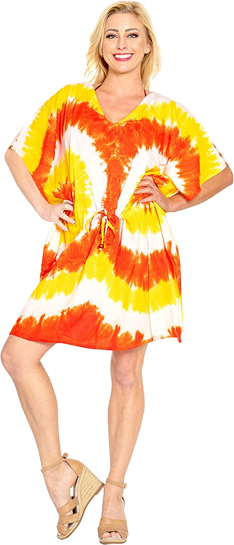 LA LEELA Donne Rayon Kaftan Tunica Tie Dye chimono Stile pi/ù Dimensione Caftano Vestito per Loungewear Vacanze Indumenti da Notte /& Ogni Giorno Copertina su Top N