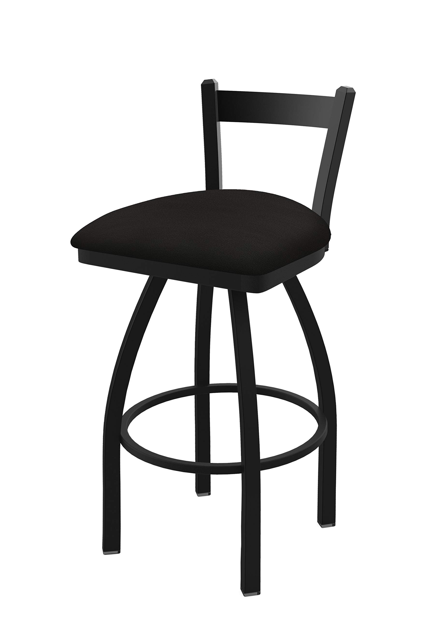 Holland Bar Stool Co. 82125BW003 821 Catalina 25'' Low Back Swivel Counter Black Wrinkle Finish and Canter Espresso Seat Bar Stool