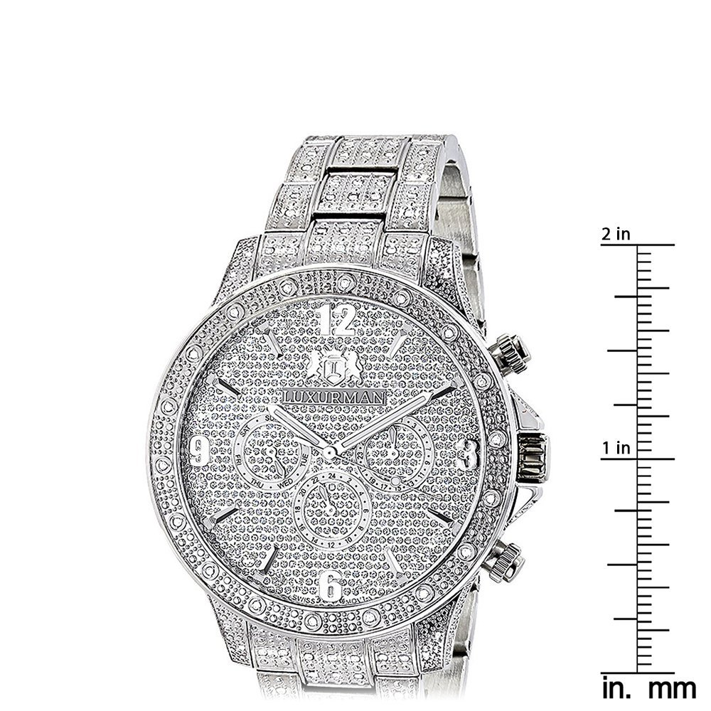f866f411a04e Mens Diamond Watches  Fully Iced Out Watch 1.25ct Luxurman  Amazon.ca   Watches