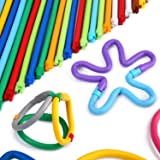 Peradix DIY Soft Building Sticks Toy Stackable Flexible Folding Bending Interlocking Colorful Straw Stem Bar Set for Imagination Education with Storage Bag (109)