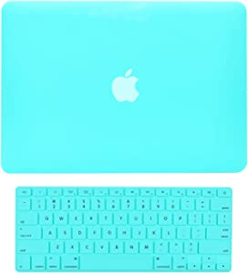 """TOP CASE - 2 in 1 Signature Bundle Rubberized Hard Case and Keyboard Cover Compatible MacBook Pro 15"""" A1398 with Retina Display (No DVD Drive/Release 2012-2015) - Robin Egg Blue"""