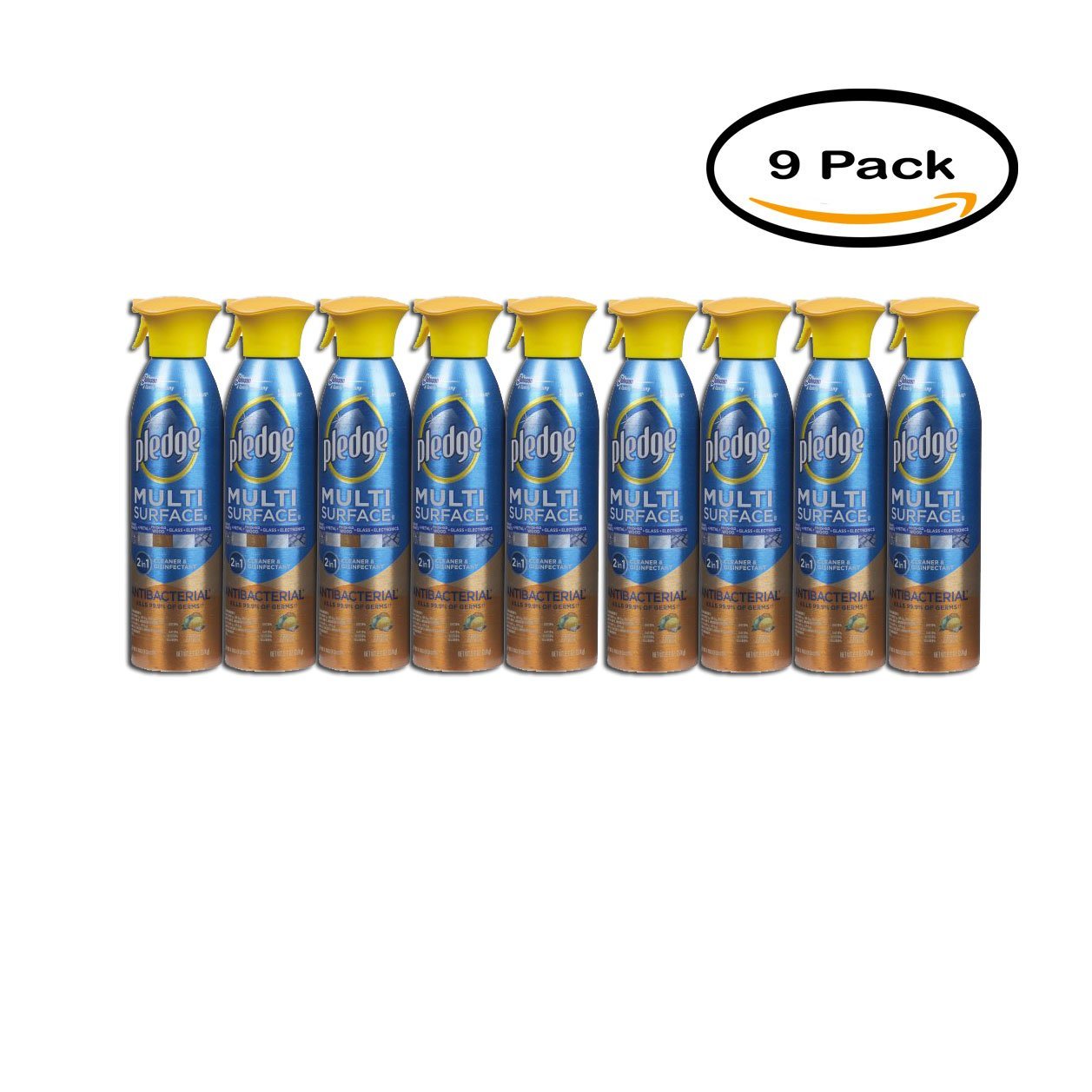 PACK OF 9 - Pledge Multi Surface Antibacterial Everyday Cleaner 9.7 Ounces.