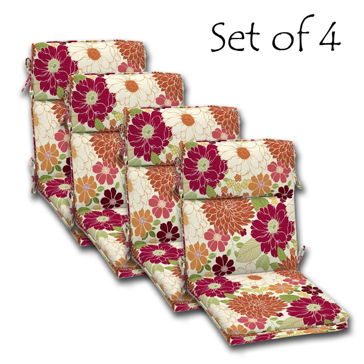 SET of 4 Outdoor Dining Chair Cushions, Single Welt and Zipper 44 x21x4.50 in Polyester fabric Sorbet Floral by by Comfort Classics Inc.