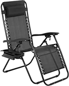 Zero Gravity Chair,Zero Gravity Lounge Chair,1 Pack Folding Lawn Chair Adjustable Reclining Patio Chairs with Pillow and Side Table for Pool Yard with Cup Holder (Black)