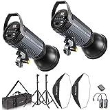 Neewer Kit de 800W Flash Estrocópico y Softbox: (2)400W Monoluz(S-400N),(2)Reflector con Montaje de Bowens,(2)Soporte de Luz,(2)Softbox,(2)Lámpara Modelada,(1)RT-16 Diparador Inalámbrico,(1)Bolsa