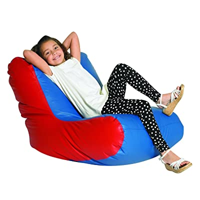 Children's Factory School Age High Back Lounger Kids Bean Bag Chair, Flexible Seating Classroom Furniture for Homeschools/Playrooms/Daycares, Blue/Red: Industrial & Scientific