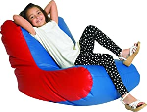 Children's Factory School Age High Back Lounger Kids Bean Bag Chair, Flexible Seating Classroom Furniture for Homeschools/Playrooms/Daycares, Blue/Red