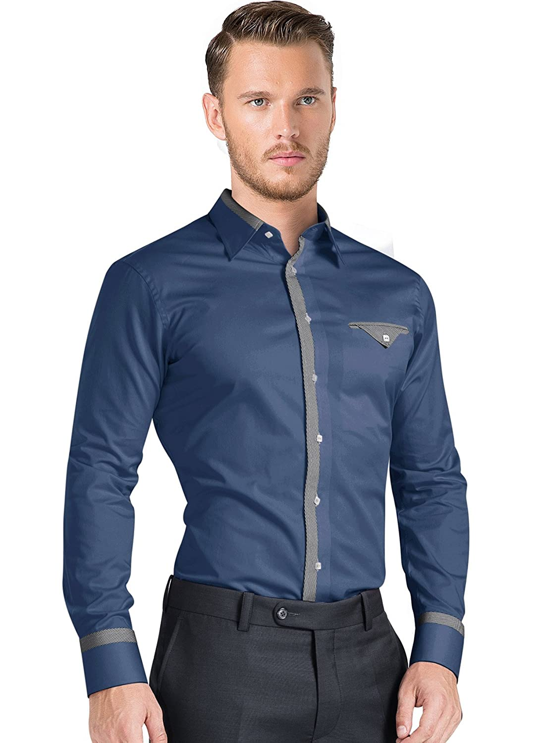 iTailor Mens Cotton Shirt with Stylish Grey Contrast