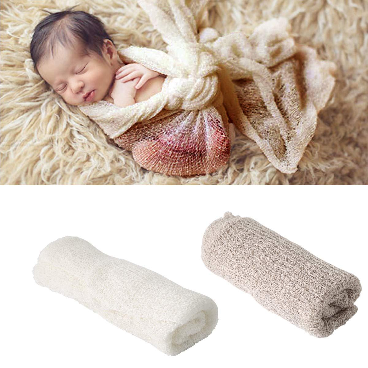 Qinhum Newborn Baby Photography Photo Props Backdrop Soft Fur Blanket Swaddle Wrap Set