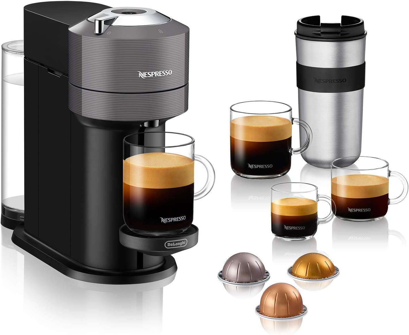 Nespresso Vertuo Next Coffee and Espresso Machine by De'Longhi, Dark Grey, Compact, One Touch to Brew, Single-Serve Coffee Maker and Espresso Machine: Kitchen & Dining