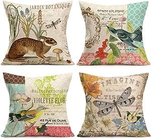 Easternproject Vintage Animals Throw Pillow Covers Set of 4 Jardin Botanique and Bunny Rabbit Bird Dragonfly Design Cotton Linen Throw Pillow Case Home Farmhouse Decor Cushion Cover 18''x18''
