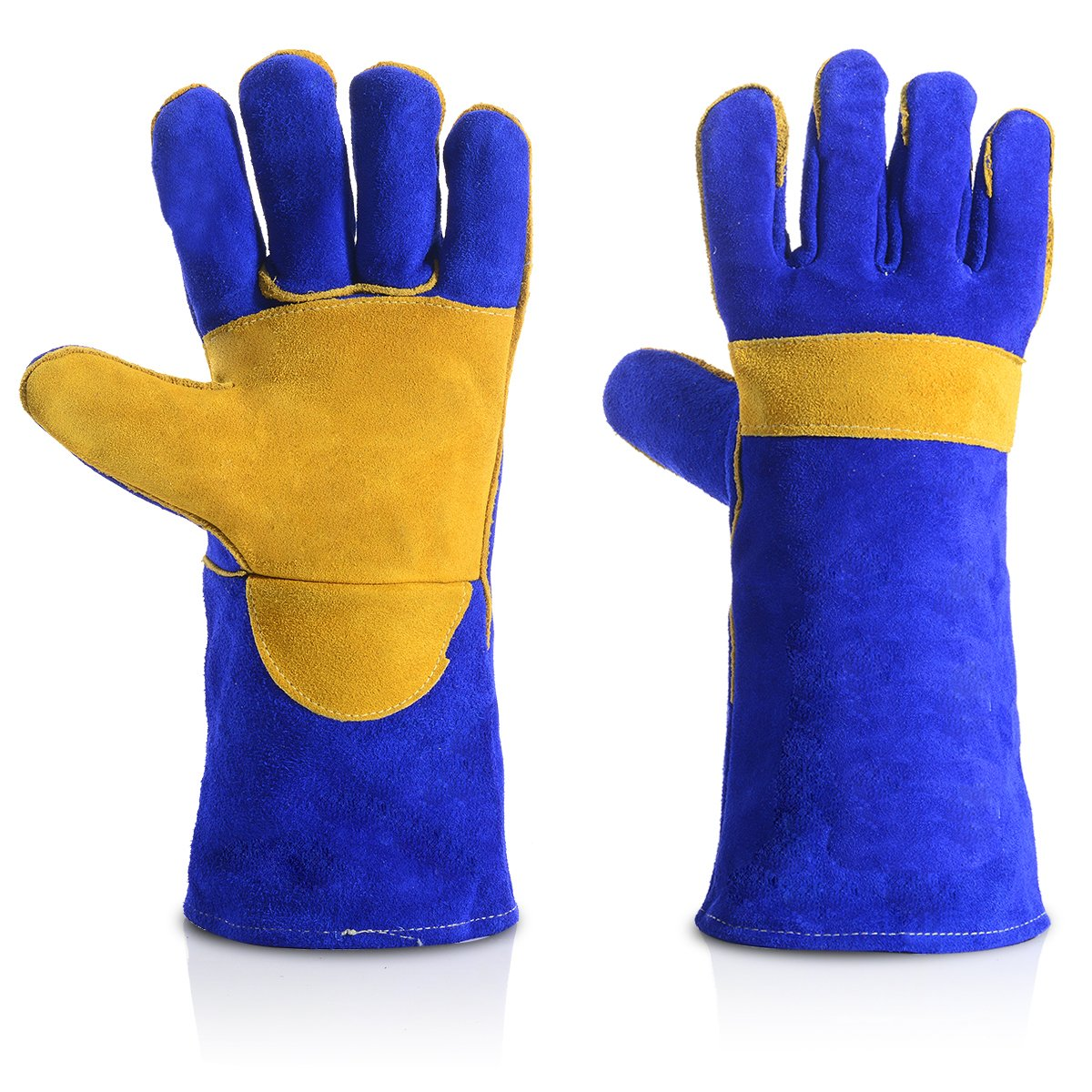 QeeLink Leather Fireplace Gloves, Heat resistant - Perfect for Gardening/Oven/Grill/Mig/Fireplace/Stove/Pot Holder/Tig Welding/Animal Handling/BBQ, Blue (14 inches, Blue)