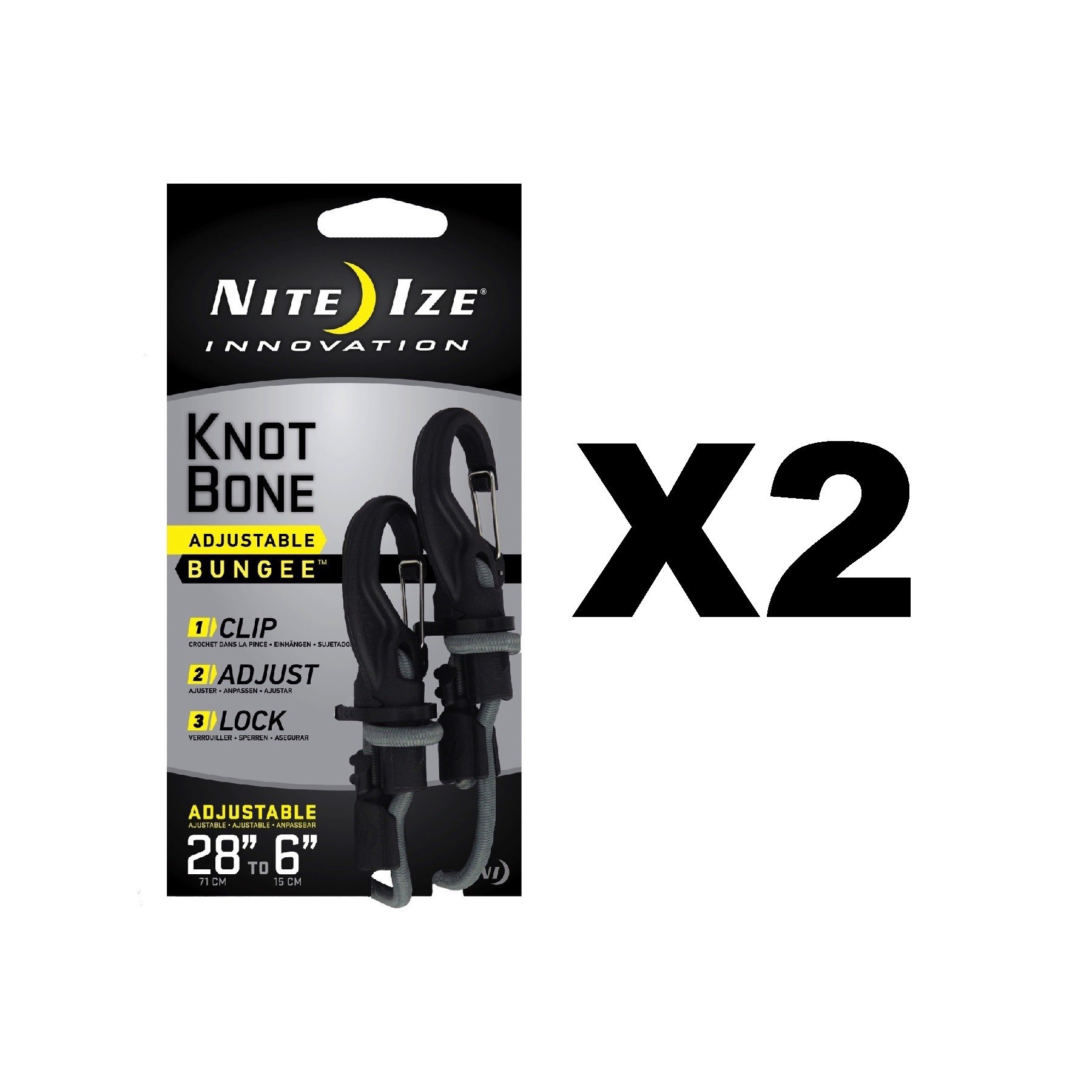 Nite Ize KnotBone Adjustable Bungee Small 5mm 6''-28'' w/ Carabiner Clip (2-Pack)