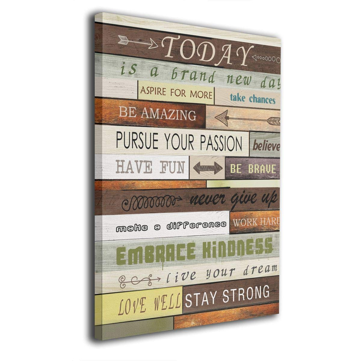 Art Logo Today Is A Day Canvas Print Inspirational Quotes Wall Art Painting For Home Decor Vintage Picture Giclee Artwork Decoration Wood Grain Looking Textual Gallery Wrapped 12 X16 Amazon In Home Kitchen