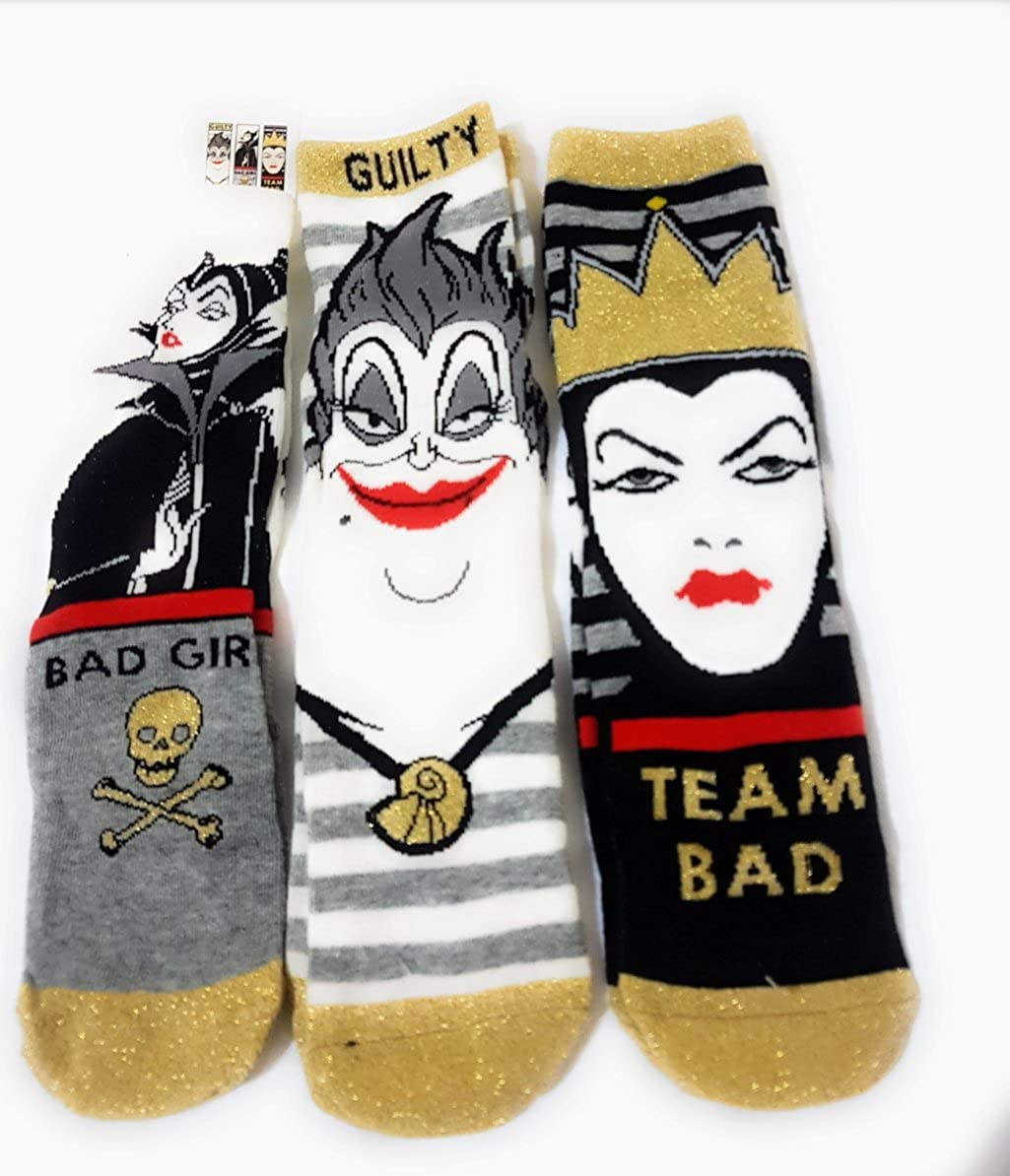 Primark Disney Villains Ursula, Evil Queen, Maléfica, paquete de 3 pares de calcetines, para mujeres y niñas: Amazon.es: Ropa y accesorios
