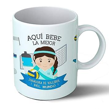 Planetacase Taza Desayuno Aquí Bebe la Mejor jugadora de Voleibol del Mundo Regalo Original Deportes Ceramica 330 ML: Amazon.es: Hogar