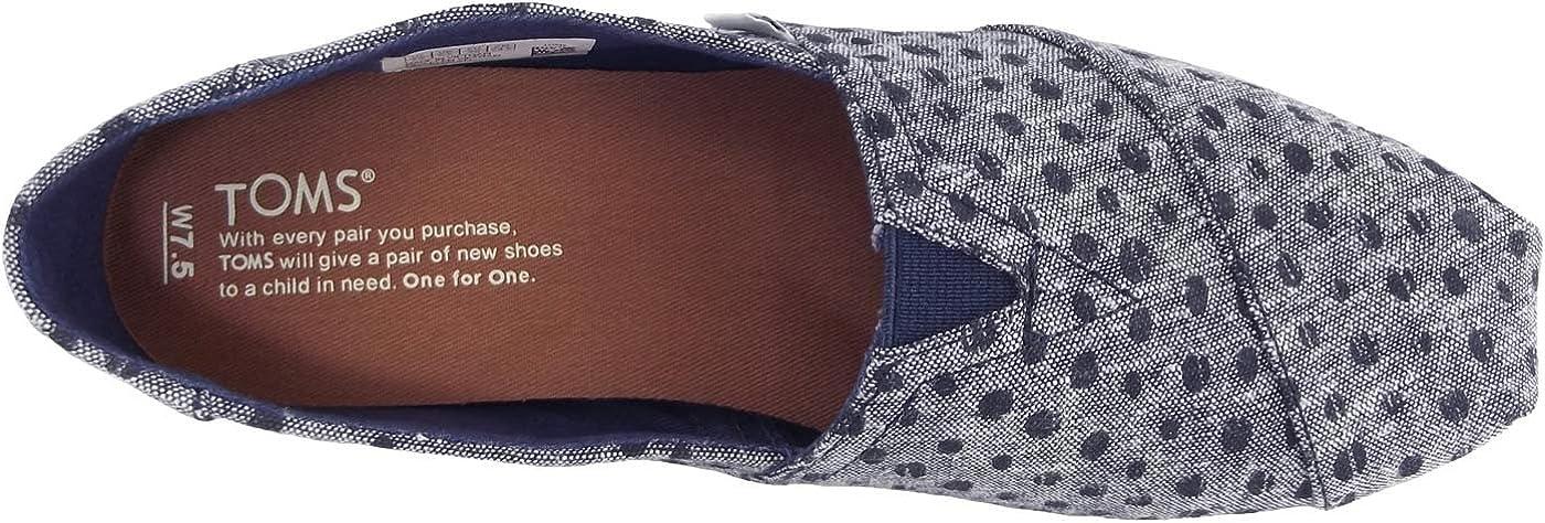 TOMS Women's Classic Slip-On Flat Shoes Navy Slub Chambray Dots