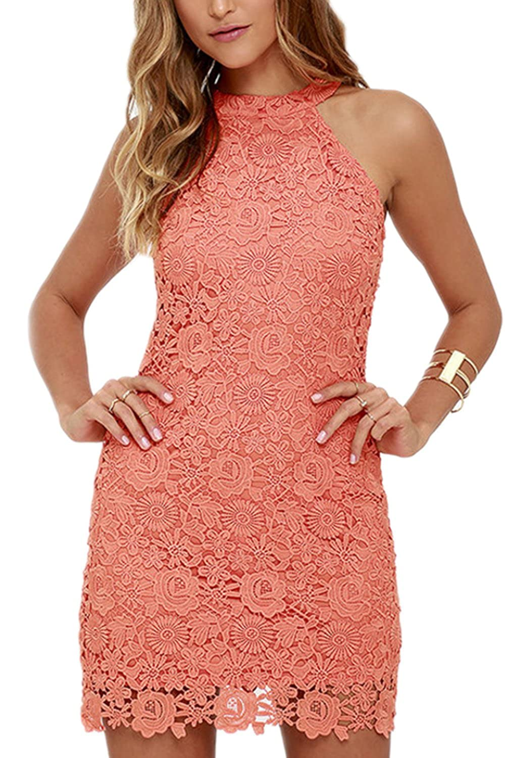 yulinge Womens Summer Elegant Halter Lace Mini Dress Slim Party Dresses CAWM051