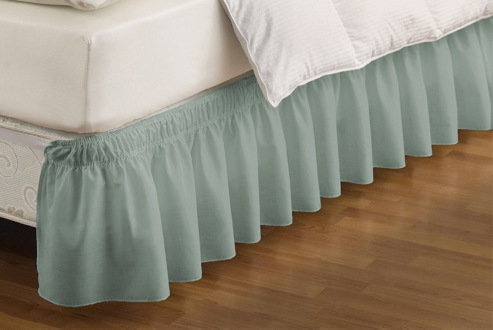 EasyFit 11577BEDDQKGSPA Wrap Around Solid Ruffled Queen/King Bed Skirt 80-Inch by 60-Inch with 15-Inch drop, Spa