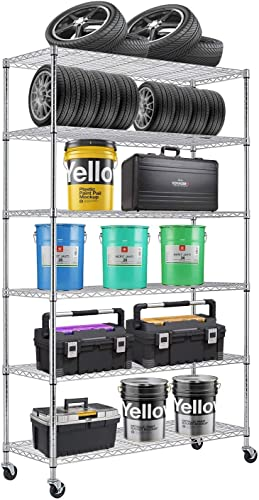 6 Tier Wire Shelving Rack,Steel Shelf 48 W x 18 D x 82 H Adjustable Storage System with Casters Wheels and Feet Levelers,Garage Shelving Unit, Storage Shelving Rack,Kitchen Office Rack Chrome