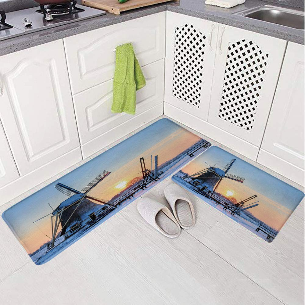2 Piece Non-Slip Kitchen Mat Rug Set Doormat 3D Print,View Dutch Windmill Covered in Snow ICY River at,Bedroom Living Room Coffee Table Household Skin Care Carpet Window Mat,