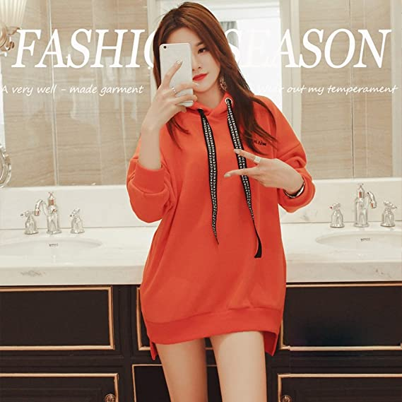 Amazon.com: Lime Girl Fall Winter Casual Pure Cotton Loose Hoodie Cute Comfortable Coat Keep Warm Pullover (Color : Orange , Size : L) : Home & Kitchen
