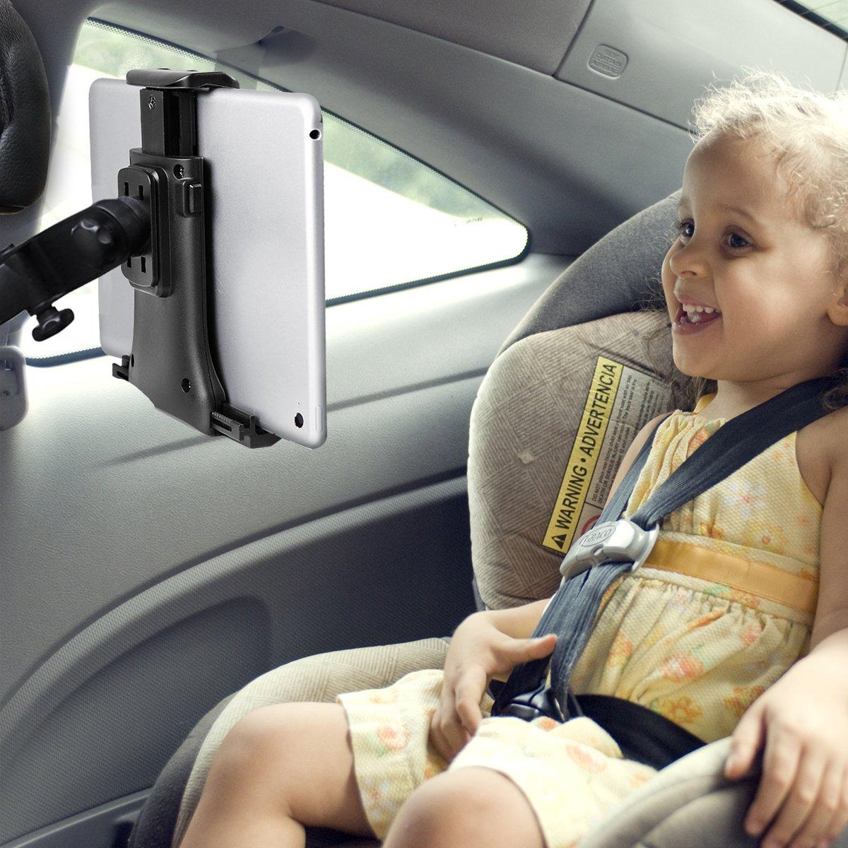 Tablet Halterung Auto, KFZ Kopfstützen iPad Kopfstützen Halterung 360° Grad Einstellbare rotierende Autositz-Kopfstützenhalterung für iPad, Samsung 7' bis 10' Tablets - Schwarz(2nd Gen) Samsung 7 bis 10 Tablets - Schwarz(2nd Gen)