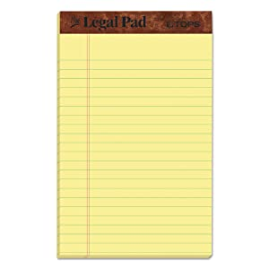 "TOPS The Legal Pad Writing Pads, 5"" x 8"", Jr. Legal Rule, Canary Paper, 50 Sheets, 12 Pack (7501)"