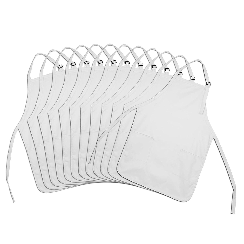 DALIX Apron Commercial Restaurant Home Bib Spun Poly Cotton Kitchen Aprons (2 Pockets) in White 12 Pack