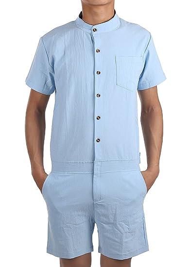 bd4da419aa9 ENVMENST Men s Short Sleeve Speedsuit Zip-Front Shirts Slim Fit With Button  (S
