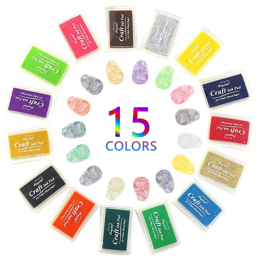Ink Pads For Rubber Art Stamps / Craft Stamps, Nakeey 15 Colors Non-Toxic Baby/Kids Safe Ink Pad for Rubbers Stamps DIY Craft Finger Stamp