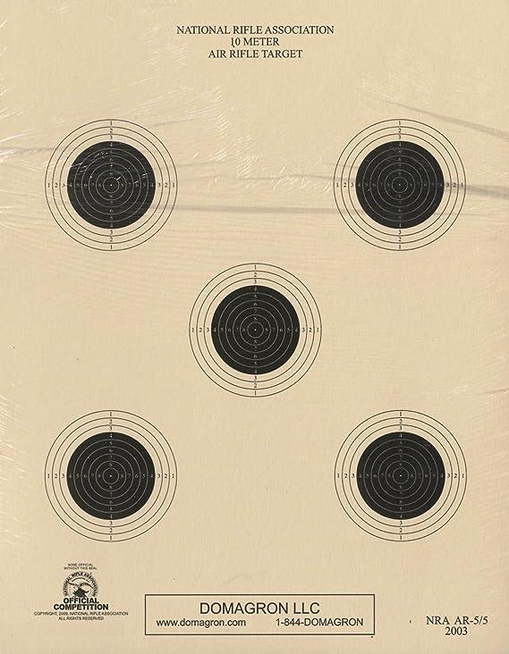 DOMAGRON 10 Meter 5 Bullseye Air Rifle Target Official NRA Target AR-5/5